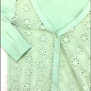 Mint Button up Cardigan with Flower Details
